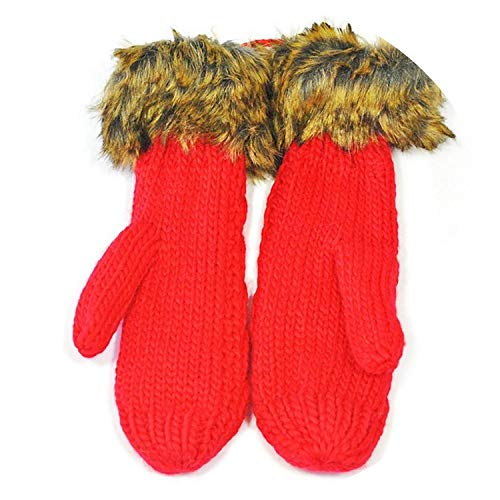 Small-shop Winter Gloves Damen Winterschicht, Dicke Kaschmirwolle, für Erwachsene, warm, gestrickt, voller Finger, weiche Damen-Fäustlinge, Damen, G048 Red, Einheitsgröße