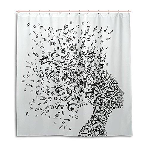 My Daily Musik Note Pistolen Duschvorhang 167,6x 182,9cm, schimmelresistent und Wasserdicht Polyester Dekoration Badezimmer Vorhang