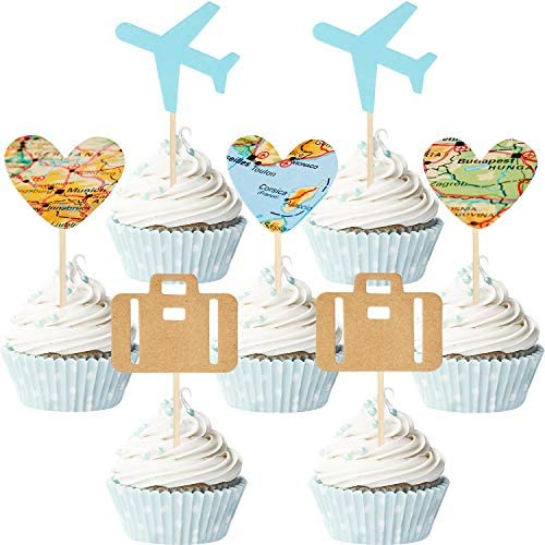 36 Pieces Travel Themed Cupcake Toppers Set Airplane Cupcake Toppers Map Heart Cake Toppers product image