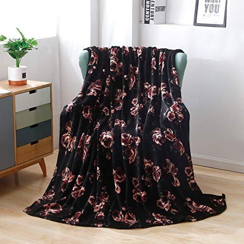 NoNo Flanell Fleece Decke 60 '' * 80 '' Soft Fluffy Throws Decke für Sofa/Bett Mikrofaser Bedruckte Decke-Single-Layer Floral Blankets -Black