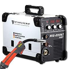 STAHLWERK MIG 200 ST IGBT – Spawarka ochronna MIG MAG z 200 A, drut napełniający FLUX odpowiedni, z MMA E-hand, biały, 7-letnią gwarancją producenta