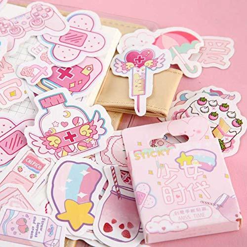 PiniceCore 46pcs Netter rosa Mädchen-Tagebuch-Planer dekorative Aufkleber Adhesive Aufkleber Kawaii Tiere Scrapbooking Fertigkeit Sticker