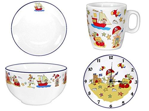 4er Set- Porzellan- Teller, Müslischale, Tasse, Telleruhr - Pirat- maritim - deutsches Produktdesign