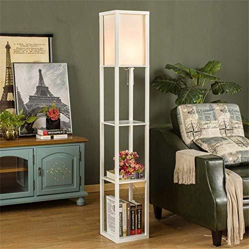 DXX-HR Bodenleuchten, die chinesischen Moderne Minimalist kreativ Retro Holzbodenleuchten for Wohnzimmer Schlafzimmer Der Vertikal Lampe (Color : White)