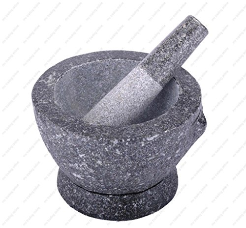 Stone (Granite) Mortar and Pestle, 8 In, 3+ Cup Capacity