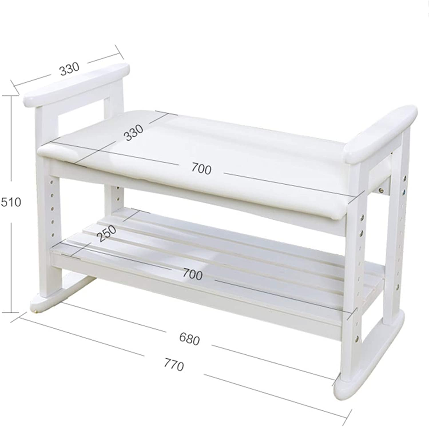 JIANFEI Footstool shoes Shelf Rack Height Adjustable PU Cushion Armrest Multi-Layer,2 Colours 2 Size (color   White, Size   770x330x510mm)
