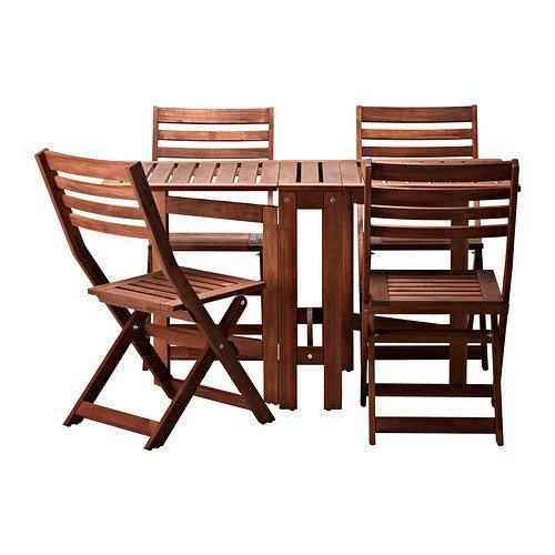 IKEA Applaro Tisch und 4 Klappstühle, Outdoor, Braun
