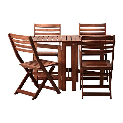 IKEA Applaro Table and 4 Folding Chairs, Outdoor, Brown