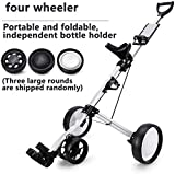 MYLW Push Pull Golf Cart 4 Wheel Push Pull Golf Cart Collapsible Cart with Kettle Stand Multi-Function Panel Easy to Open and Close, Lightweight Aluminum Alloy