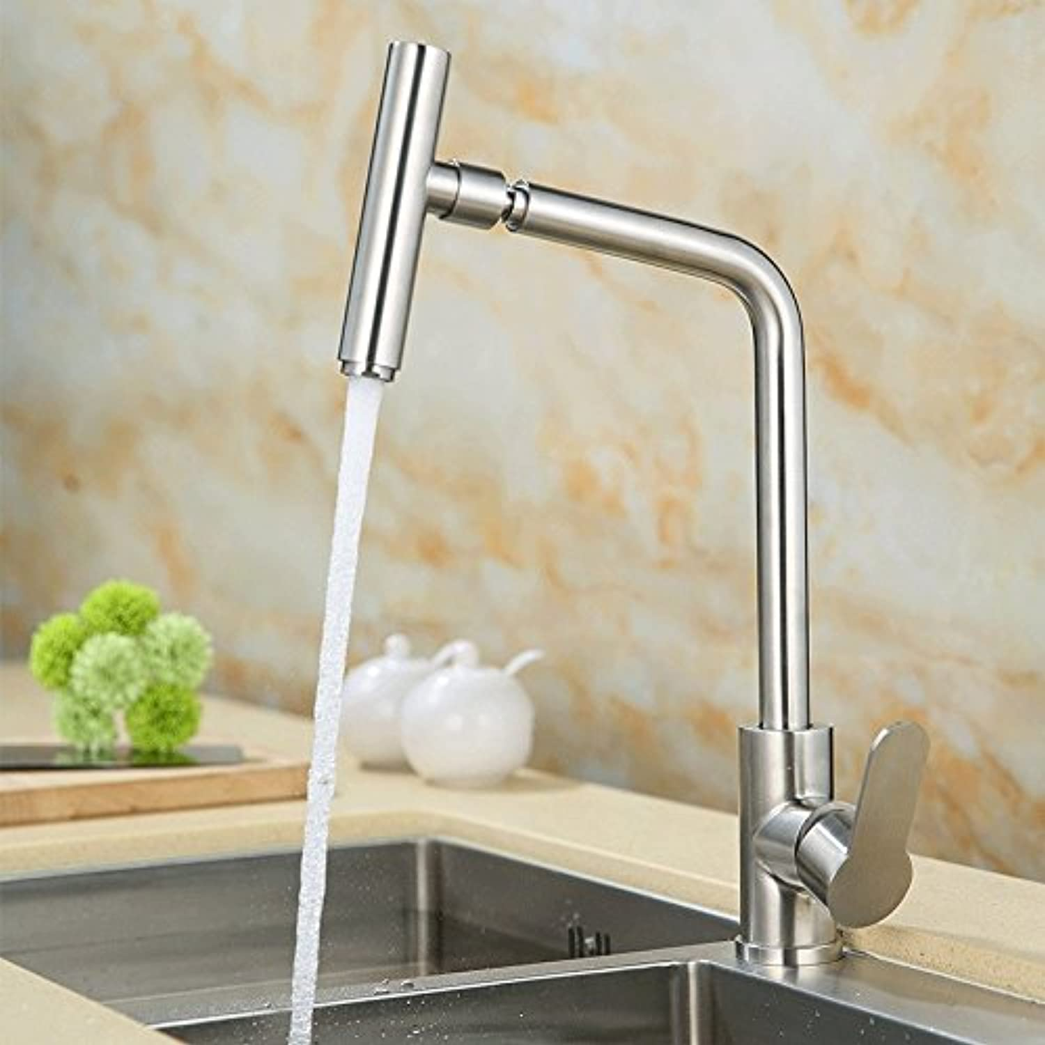 Commercial Single Lever Pull Down Kitchen Sink Faucet Brass Constructed Polished Stainless Steel Kitchen Faucet, Hot and Cold Sink, Universal Sink Faucet, redatable Sink Faucet