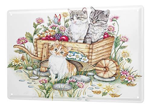 LEotiE SINCE 2004 Blechschild Wandschild 30x40 cm Vintage Retro Metallschild Katze DREI Katzen Schubkarren