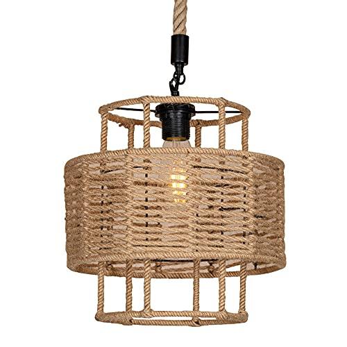 NAMFMSC Accesorio de iluminación colgante de cuerda de cáñamo de una sola cabeza en forma de barril de doble capa Lámpara colgante americana retro Lámpara colgante de techo de estilo industrial Lámpar