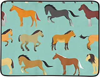 Seamless Pattern with Horse in Flat Style Pattern Portable and Foldable Blanket Mat 60x78 Inch Handy Mat for Camping Picnic Beach Indoor Outdoor Travel