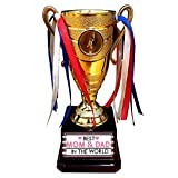 TheYaYaCafe Best Mom and Dad in The World Printed Champions Alloy Award Trophy Birthday - Golden