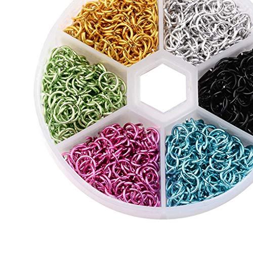 shunbang yuan New 6mm Aluminum Wire Open Jump Rings open jump rings Mixed Colors Plastical Box DIY Decoration Accessories