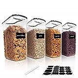 Vtopmart 4L Recipientes para Cereales Almacenamiento de Alimentos, Jarras de Almacenamiento de Plástico con Tapa Hermética Sin BPA,Juego de 4 + 24 Etiquetas, para harina,café (Negro)