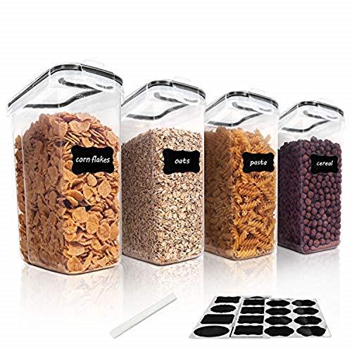 Vtopmart 4L Große Vorratsdosen Set,Müsli Schüttdose & Frischhaltedosen, BPA frei Kunststoff Vorratsdosen luftdicht, Satz mit 4 + 24 Etiketten für Getreide, Mehl, Zucker(Schwarz)