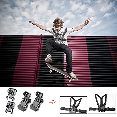 Zookki Accessories Kit for GoPro Hero 5 4 3+ 3 2 1 SJ4000 SJ5000 Camera, Black - Silver