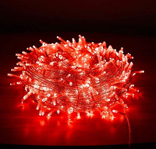 Guirlande de Noel Fée, 10M 80 LED Arbre de Noël Guirlande Lumineuse avec 2 Lumières de Noël Décoratives Mode USB (Rouge)