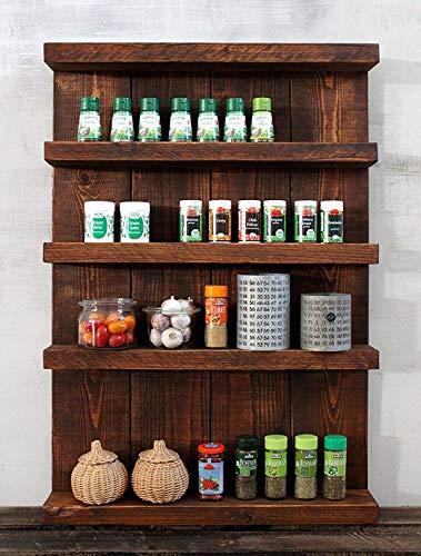 Holz Gewürzregal stehend hängend fertig montiert braun vintage