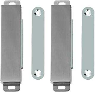 JQK Magnetic Door Catch, Stainless Steel Cabinet Magnet Closet Catches, 60 lbs Brushed (Pack of 2), HCC603-P2