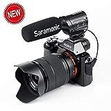 Saramonic SR-M3 - Micrófono de vídeo para Youtube y Entrevista con entrada de micrófono adicional y control de auriculares en tiempo real compatible con cámara Nikon Canon Sony DSLR, videocámara