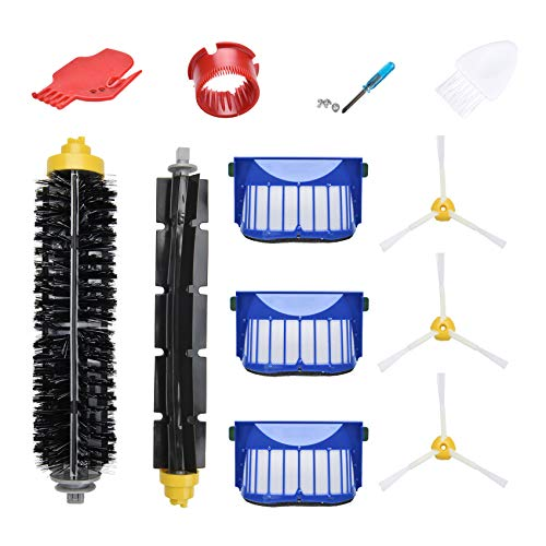 LOVECO Replacement Parts Kit for iRobot Roomba 600 Series 694 690 614 680 660 651 650 (Not for 645 655& 500 Series 595 585 564 552,3 Filter,3 Side Brush,1 Pairs Bristle and Flexible Beater Brush