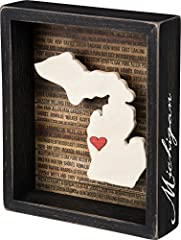 Inset box sign with a dimensional Michigan state silhouette and background list of the most populated cities Measures 6. 75 x 8-inches; black distressed style frame with the state name hand lettered on side of frame Includes adhesive mini red heart t...