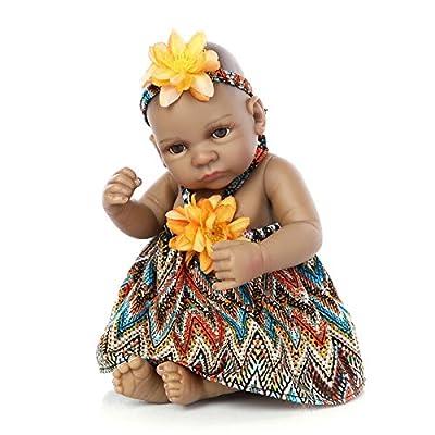 "Funny House 10"" / 26cm Full Body Silicone Soft Vinyl Real Looking Reborn Baby Dolls Lifelike Native American Indian Style Black Skin Girl Newborn Doll"