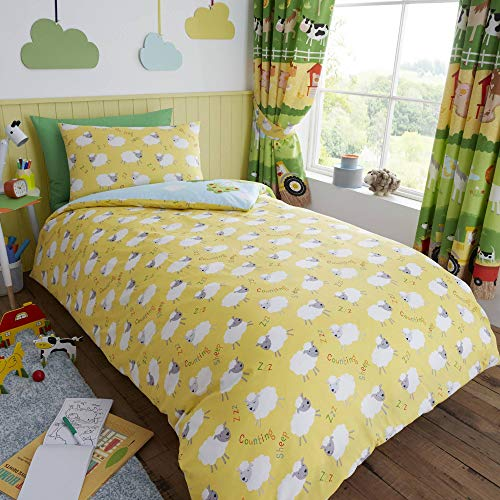 Happy Linen Company Kids Boys Girls Farm Animals Counting Sheep Green Yellow Reversible Single Bedding Duvet Cover Set