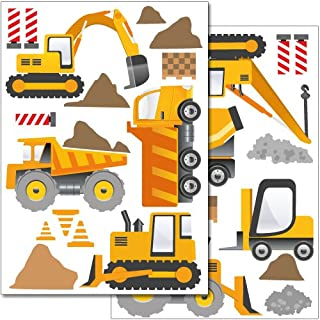 Wandkings wall stickers Construction Machines Sticker Set – more than 30 stickers on 2 US letter sheets (each 8.3 x 11.7 inch)