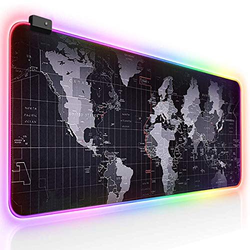 RGB Gaming Mouse Pad, LED Extra Extended Large Mouse Pad Comfortable, Anti-Slip Rubber Base Computer Keyboard Mouse Mat - 31.5x12x0.16inch (WorldMap)