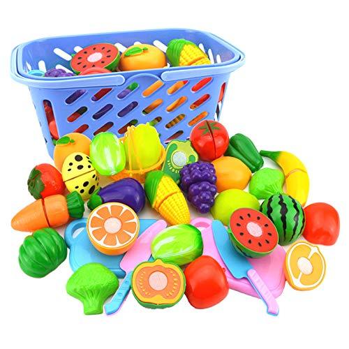 Bongba Cortar El Conjunto de Frutas Jugar Comida para Niños Juguete de Simulación Juego de Cortar Comida de Cocina Frutas para Niñas Niños Juego de 6