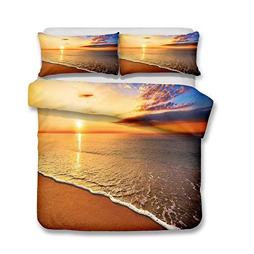 Andrui Bettwäsche Set 3D Meer Strand Welle Sonnenuntergang Romantische Landschaft Mehrfarbig Bettbezug und Kissenbezug Bettwäsche mit Reißverschluss Ganzjährig Einzelbett 135x200cm