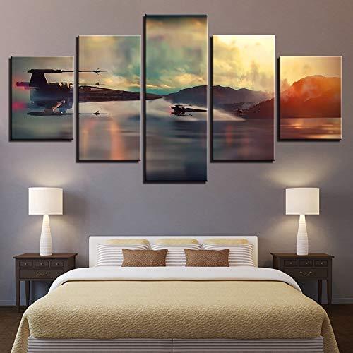 Kunstdruck 5 Teilig Star Wars X-Wing Flugzeug Leinwand Bilder Modulare Film Poster Für Wohnkultur Wandkunst Malerei,B,30X40X230X60X230X80X1