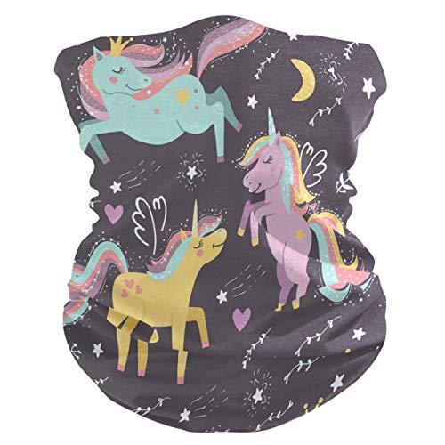 LDIYEU Fantasía Coloridos Unicornios Luna Pañuelo Bandana para la Cara 3D Balaclava Motero Bufanda Ciclismo Bici Máscara Facial Protección UV para Ciclismo Niñas Mujeres Hombres(2PACK)