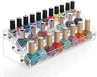 Sooyee Acrylic 3 Layer Nail Polish Rack Tabletop Display Stand Holds Up 36 Bottles,Clear 3 Tier Essential Oils Holder,Pack of 1(12.2X4.72X3.4 Inch)