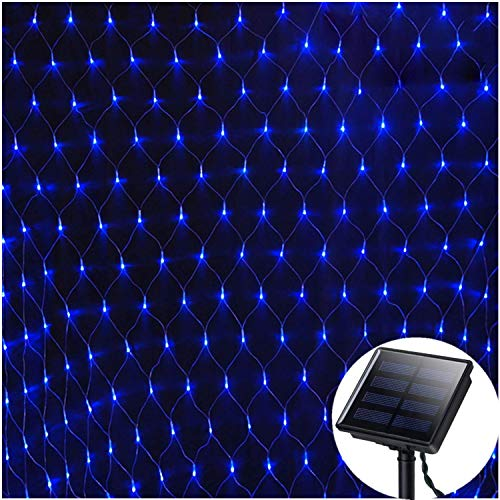 Solar Net Lights Outdoor Waterproof, Mesh Light,4.9ft x 4.9ft,100 LED Christmas Lights Holiday Fairy String Lights for Home Dancing Patio Party Lawn Window Wall Decoration-Dark Green Cable,8 Mode,Blue
