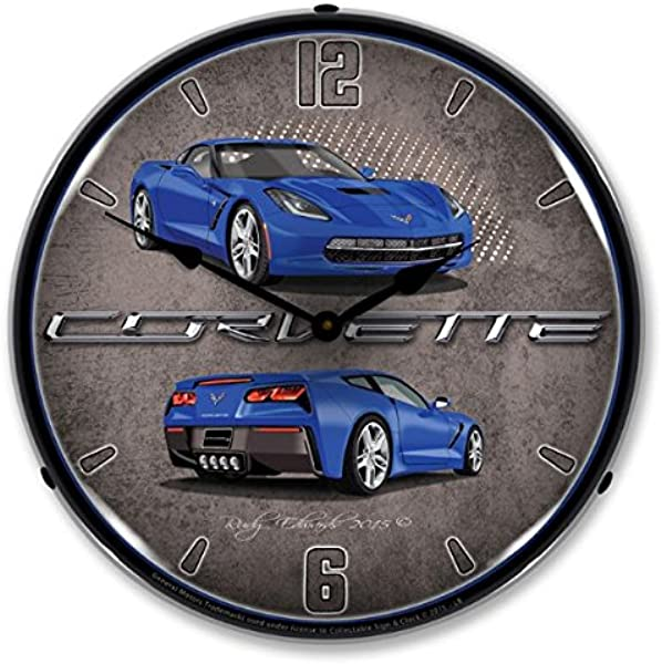 Lighted C7 Corvette Laguna Blue Clock