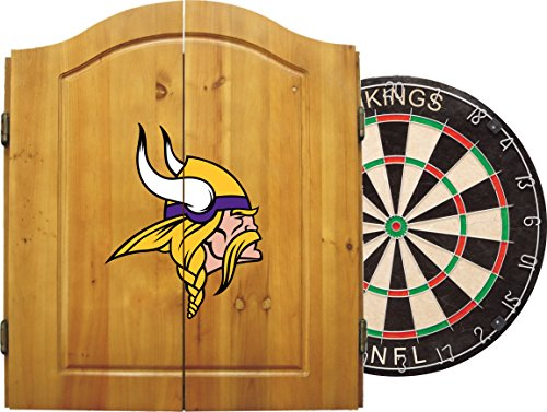 Imperial Official NFL Dart Boards for Adults with Cabinet, 6 Steel Tip Darts, Chalkboard Scorers, Minnesota Vikings - Professional Bristle Dartboard Set - Premium Game Room Accessories and Decor