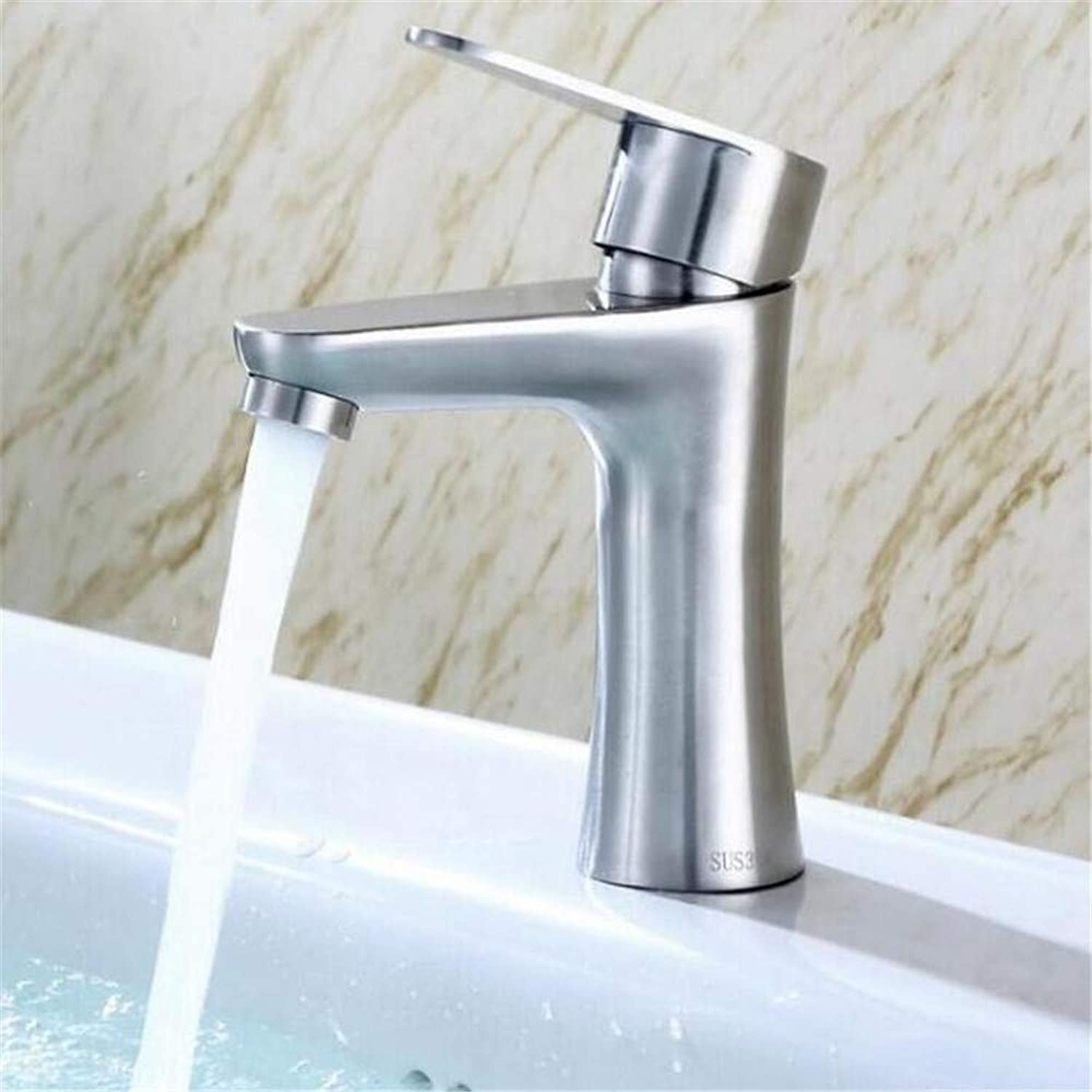 Basin Mixer Tap Stainless Steel Hot and Cold Water Faucet Bathroom Bathroom Faucet Stainless Steel Basin Faucet