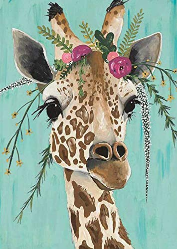 FLAIGO DIY 5D Diamond Painting by Number Kits, Full Drill Resin Diamond Cross Stitch Crystal Rhinestone Embroidery Pictures Arts Craft for Home Wall Decor Gift -11.8 x 15.7 Inch (Giraffe)