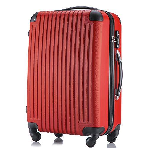 (トラベルデパート) 超軽量スーツケース TSAロック付 (Mサイズ(3-7泊用/54L), レッド)