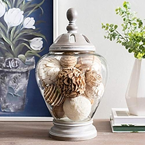 Wisechoice Home Storage Container Display Decor Gray Washed Majestic Potpourri Jar Best in Coffee Table or Shelf