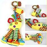 YZGSBBX (46 cm Plüsch Säugling Spielzeug weiche Giraffe Tier Handbellen Baby-Entwicklung Schöne Neugeborene Baby Rasseln Plüsch Pram Bett Glocken Handbell Plüschspielzeug