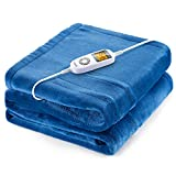 iTeknic Heated Blanket Electric Throw, 60'x 50' Flannel Electric Blanket with 10 Heating Levels & 1H/2H/3H Auto Off, ETL Certified, Overheating Protection Heated Throw, Machine Washable (Blue)