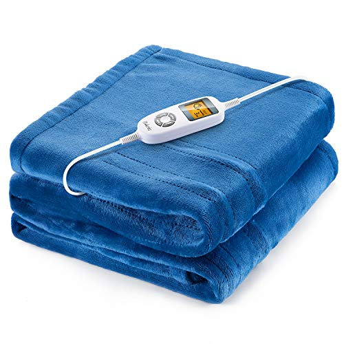 iTeknic Heated Blanket Electric Throw, 60'x 50' Flannel Electric Blanket with 10 Heating Levels &...