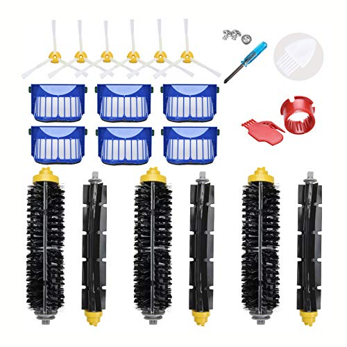 LOVECO Replacement Accessories Kit for iRobot Roomba 600 Series 690 692 680 660 651 650(Not for 645 655)& 500 Series 595 585 564 552,6 Filter,6 Side Brush,3 Pairs Bristle and Flexible Beater Brush