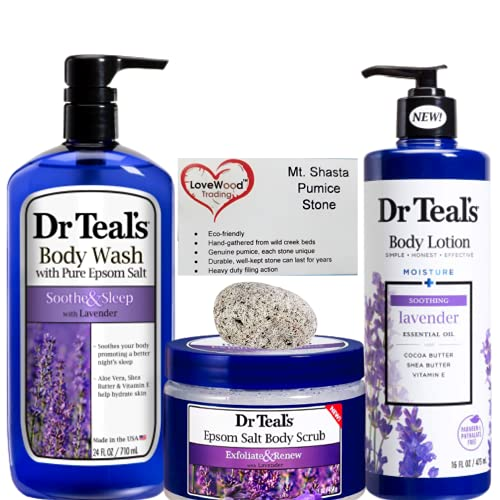 Bath & Shower Skin Care Bundle   Pumice Stone Callus Remover Epsom Salt Body and Foot Therapy Care Gift Set   Natural Pumice Stone, Dr Teal's Body Wash, Dr Teal's Epsom Salt Lavender Body Scrub, Dr Teal's Essential Oil Body Lotion.