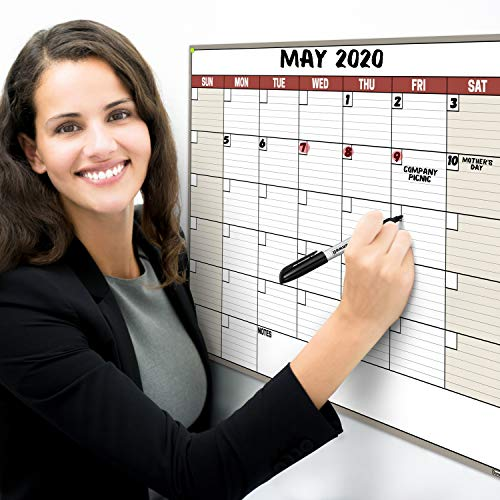 Dunwell 18x27 Dry Erase Calendar - (Brown) Undated Large Dry Erase Calendar for Wall, Reversible Reusable Monthly and Weekly Dry Erase Calendar, Wipe Off Calendar Poster Shipped Rolled Not Folded